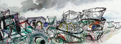 drawing by Sally Booth of Nets and Rain (Lobster pots, Hastings)