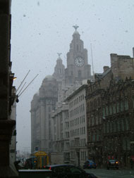 Snowing in Liverpool 2nd Feb towards the Liver building