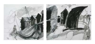 drawing by Sally Booth of The Stade, Hastings, Indian ink