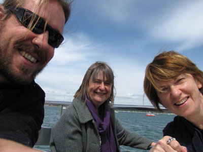 Tim, Sally and Evlynn on the ferry to Brownsea