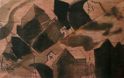 drawing by Sally Booth of The Stade, Hastings, two triangle pictures, ink on wood