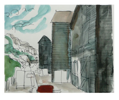 View from Mick's Hut, pen and watercolour on paper, 2010