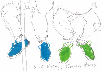 Northern Line, blue shoes, green shoes