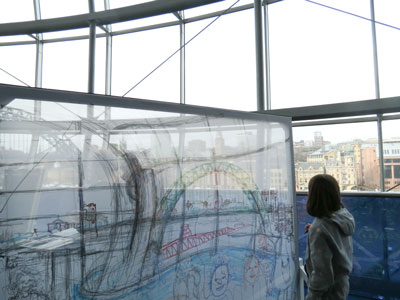 Participant drawing the view to the West Tyne Bridge 11 March