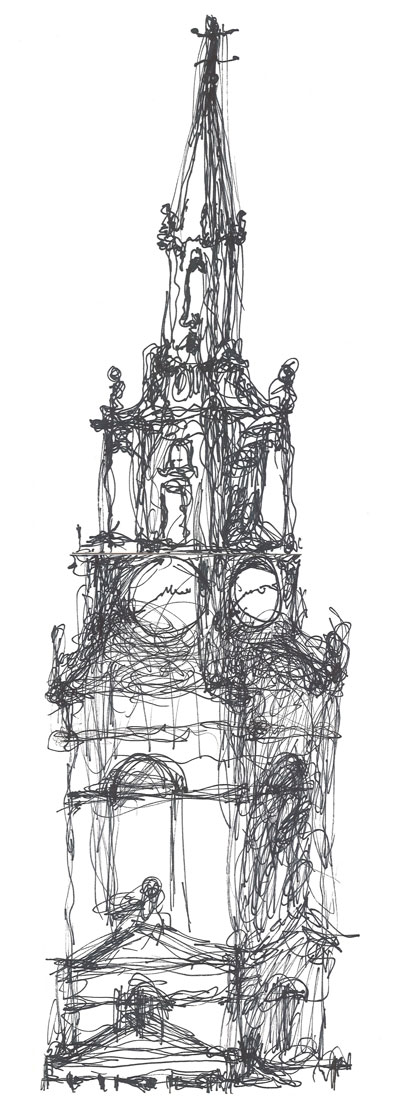 Study of Church from Sage Gateshead - ink on paper