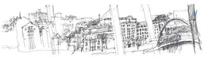 Panorama Looking East from Sage Gateshead - ink on paper