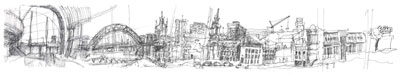 Panorama Looking West from Sage Gateshead - ink on paper