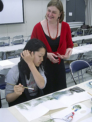 Sally working with undergraduate students at University of Art, Kyoto, Japan.
