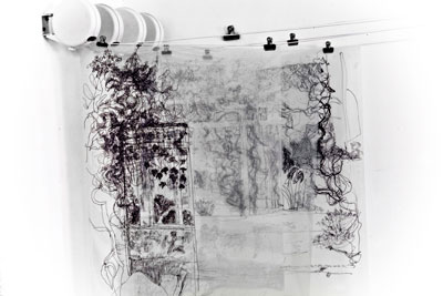 Allerton Towers. 3 layered transparent drawings made on location, pen on acetate on hanging rail 127 cm x 91 cm approx