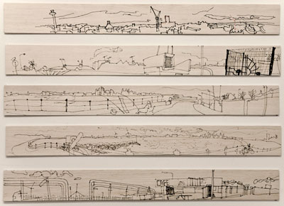 Liverpool panoramas,  pen on balsa wood  10cm x 92 cm