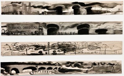 North dock adn the canal, 4 pen and ink wash drawings on balsa wood 10cm x 92cm