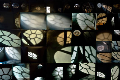 Studio windows photo montage. A selection from a series taken of shadows, reflections and changing light inspired by the oval windows in my studio over the period of the residency 160 cm x 245 cm